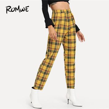 ROMWE Plaid Zip Side Pants Female Casual Spring Autumn Mid Waist Zipper Fly Bottoms Women Tapered Carrot Multicolor Trousers