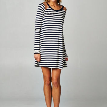 Stripe Dress with Faux Suede Shoulder MEDIUM ONLY