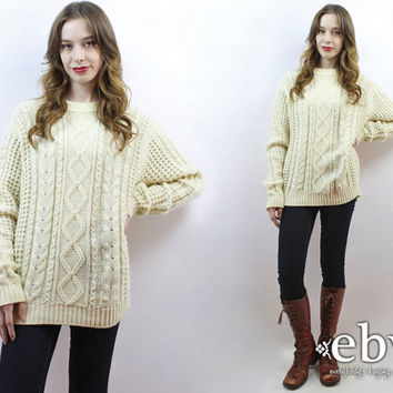 Fisherman Sweater Vintage 70s Cream Cable Knit Sweater XL Cream Sweater Chunky Knit 70s Sweater Cable Knit Jumper Cream Jumper Men's Sweater