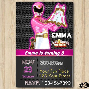 POWER RANGER INVITATION, Power Rangers Megaforce, Power Rangers Birthday, Power Rangers Party, pink Power Rangers custom invite (#367)