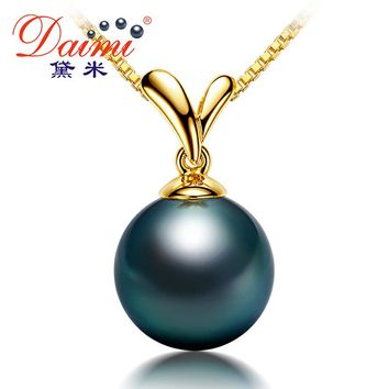 [DAIMI] Wedding Accessories Natural Black Tahitian Pearl, 18k White/Yellow Gold Pendant Necklace Fine Jewelry Free Silver Chain