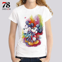 Track Ship+ 2017 Summer T-shirts For Women cartoon minnie mickey mouse printed T-shirt Top tees Shirt Female T-shirt T Shirt