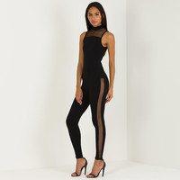 Mesh Panel Jumpsuit - Black