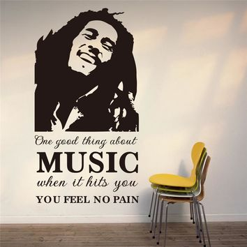 one good thing about music Bob Marley black wall art decals for bedroom indoor decoration diy vinyl removable stickers