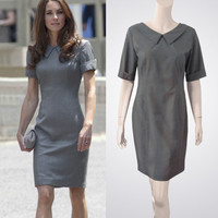 Grey sheath dress with Peter Pan V-neck collar inspired by Kate Middleton