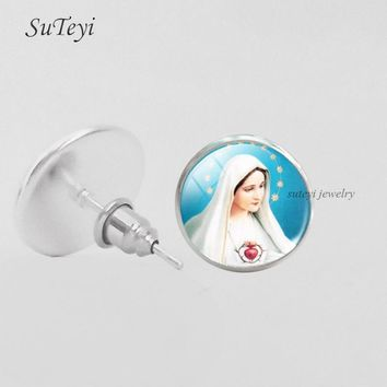 SUTEYI Christian Jesus Cross Picture Glass Ear Nail Women Girls DIY Earring Jewelry Mary Mother Of Baby Stud Earrings Lucky Gift