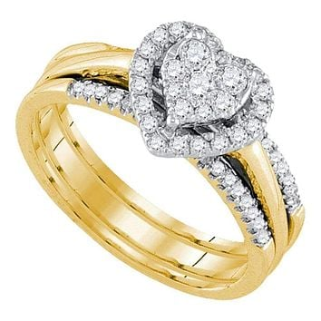 14kt Yellow Gold Women's Diamond Heart Bridal Wedding Engagement Ring Band Set 1/2 Cttw - FREE Shipping (US/CAN)