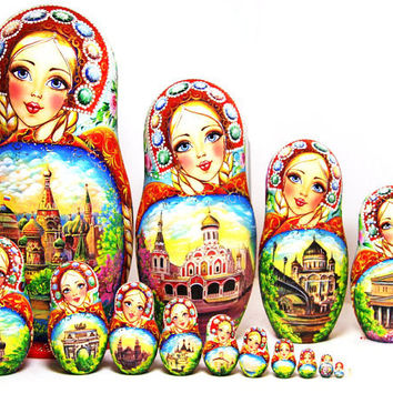Nesting Doll 15pcs 12.9in. 33cm. Matryoshka, Russian doll, Russian matryoshka doll, Nested doll – Moscow - with rhinestones kod333