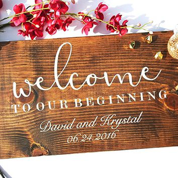 Welcome to Our Wedding Sign, Personalized Wedding Sign, Rustic Wooden Wedding Sign.