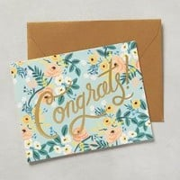 Rifle Paper Co. Congrats Card in Turquoise Size: One Size Books