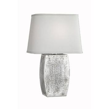 Remington Lamp 2319 Hammered Brass With Aged Nickel Finish Table Lamp w/ Cream Linen Shade