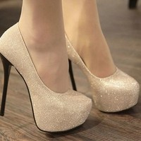 Sparkling gold pink black silver womens pump formal wedding bridesmaid prom bride shoes heels