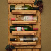 Rustic Reclaimed Wood Horizontal 4 bottle Wine Rack Shelf. Crate top lid