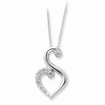 Sterling Silver & CZ Journey of Friendship Heart Necklace, 18 Inch