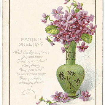 "Purple Violets in Green Vase Decorated with Purple Asters  Poem ""Easter Greetings"" ""With Springtime's joy...""in Easter Card Vintage Postcard"