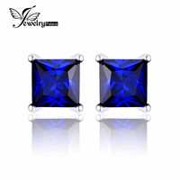 JewelryPalace Square 0.8ct Created Blue Sapphire 925 Sterling Silver Stud Earrings For Women Classic Fashion Earrings Jewelry
