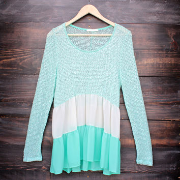 ruffle me up color block sweater tunic in mint