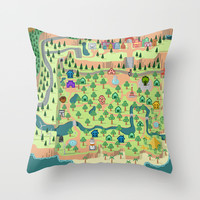Animal Crossing (どうぶつの 森) Throw Pillow by Drew Linne