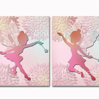 Nursery art baby girl room wall decor fairy poster kids floral decoration colorful artwork pink dahlia toddler print set baby shower gift