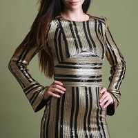 Sequins Striped Bell Sleeve Mini Dress | UrbanOG