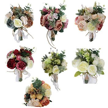 Bridal Bridesmaid Wedding Holding Bouquet Artificial Flower Vintage Rustic Style