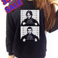 Supernatural Sweatshirt Shirt Mug Shot Sam Dean Winchester Black Shirt Clothing Long Sleeve UNISEX Women Men