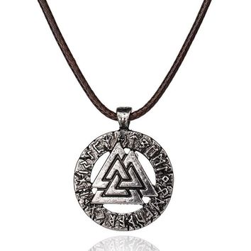 Punk Jewelry Amulet Pendant Necklace Scandinavian Viking Odin 'S Symbol Of Norse