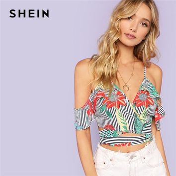 SHEIN Multicolor Sexy Vacation Boho Bohemian Beach Floral And Striped Cold Shoulder Knot Blouse Summer Women Casual Shirt Top