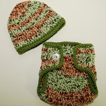 crochet camo Hat beanie and diaper cover set by BitofWhimsyCrochet