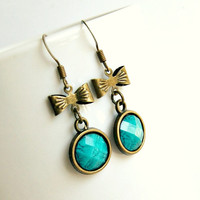 little bow aqua brass drop earrings, cabochon, romantic, vintage inspired