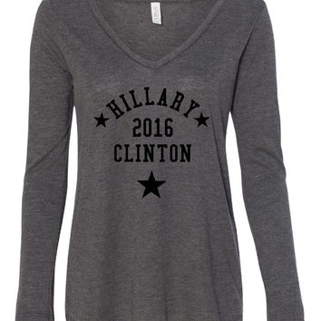 Hillary Clinton 2016, President, First Woman Candidate Feminist Smart Democrat Election Campaign Support, Flowy Long Sleeve T Shirt  Ladies