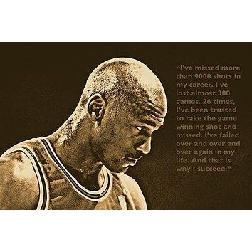 SUCCESS QUOTE photo poster MICHAEL JORDAN basketball great SPORTS FAN 24X36