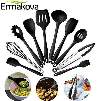 10 Pcs Non-Stick Silicone Kitchen Utensil Set Tong, Spoon, Spatula & more