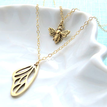 Double Layered Bee & Butterfly Wing Necklace, Float Like A Butterfly, Sting Like A Bee, Layering Necklace, Bee Lover, Nature Lover, Inspire