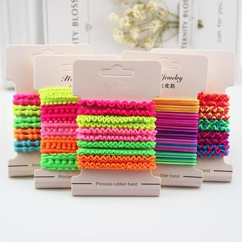 10Pcs/lot Hot New Candy Color Headband Princess Scrunchy Ropes Gum Children Elastic Hair Bands Cute Hair Accessories for Girls