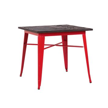Sundsvall Glossy Red + Elm Wood Top Steel Dining Table 30