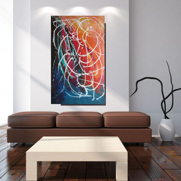 Large Art Original Painting Blue And Red Abstract Painting Extra Large Wall Art Colorful Canvas Art Living Room, Office Painting Christovart
