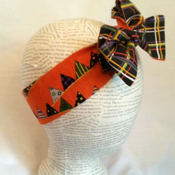 Reversible Halloween Head Wrap - Orange Black Purple Green Plaid Headwrap - Size Infant to Adult - Rockabilly Head Wrap - Retro Head Wrap