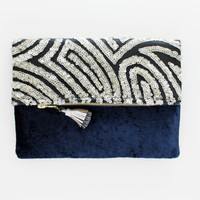 SAPHIRE 5 / Silver sequin & navy velvet folded clutch bag - Ready to Ship