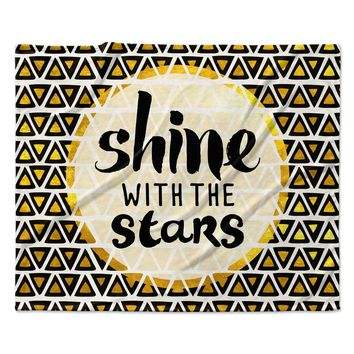 "Pom Graphic Design ""Shine with the Stars"" Black Yellow Fleece Throw Blanket"