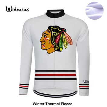 USA blackhawks cycling Jerseys long Sleeve winter thermal fleece Jersey chicago blackhawks men bike wear cycling clothing 8002