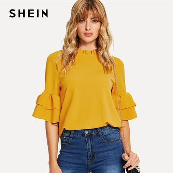 SHEIN Ginger Frill Neck Flounce Sleeve Keyhole Back Top Elegant Stand Collar Workwear Solid Blouse Women Summer Blouses