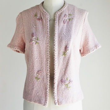 Vintage 1960s Pink Boucle Sweater Jacket, Tucker Knits
