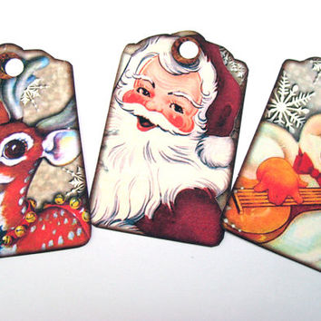 Kitschy Christmas Tags - Set of 12 - Retro Tags - Holiday Tags - Mid Century Tags - Christmas Gift Tag - Cute Tags -  Thank Yous