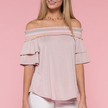 Embroidered Off Shoulder Top - Light Pink