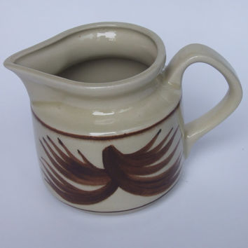 Vintage Milk Jug / Pitcher / Ceramic / Cream Choc Brown / Glazed / Hand painted / Made in Poland / Polish folk craft / Polish pottery