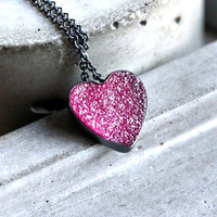 Candy Pink Druzy Heart Necklace, Hot Pink Valentine Druzy Oxidized Sterling Necklace Heart Jewelry - Sugar Rush
