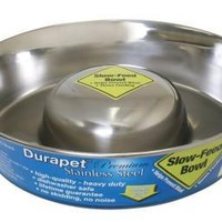 Durapet Stainless Steel Slow Feed Dish - Large