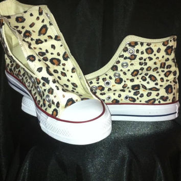 Hand Painted Leopard Print Custom Converse Shoes Animal Print Cheetah Cow Zebra Tiger Giraffe