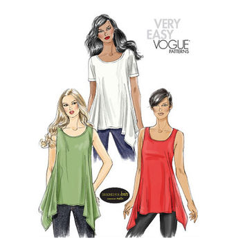 VOGUE TUNIC PATTERN Asymmetrical Drape Stretch Knit Tops Blouse Vogue 8651 Bust 38 40 42 44 UNCuT 2000s Plus Size Women's Sewing Patterns